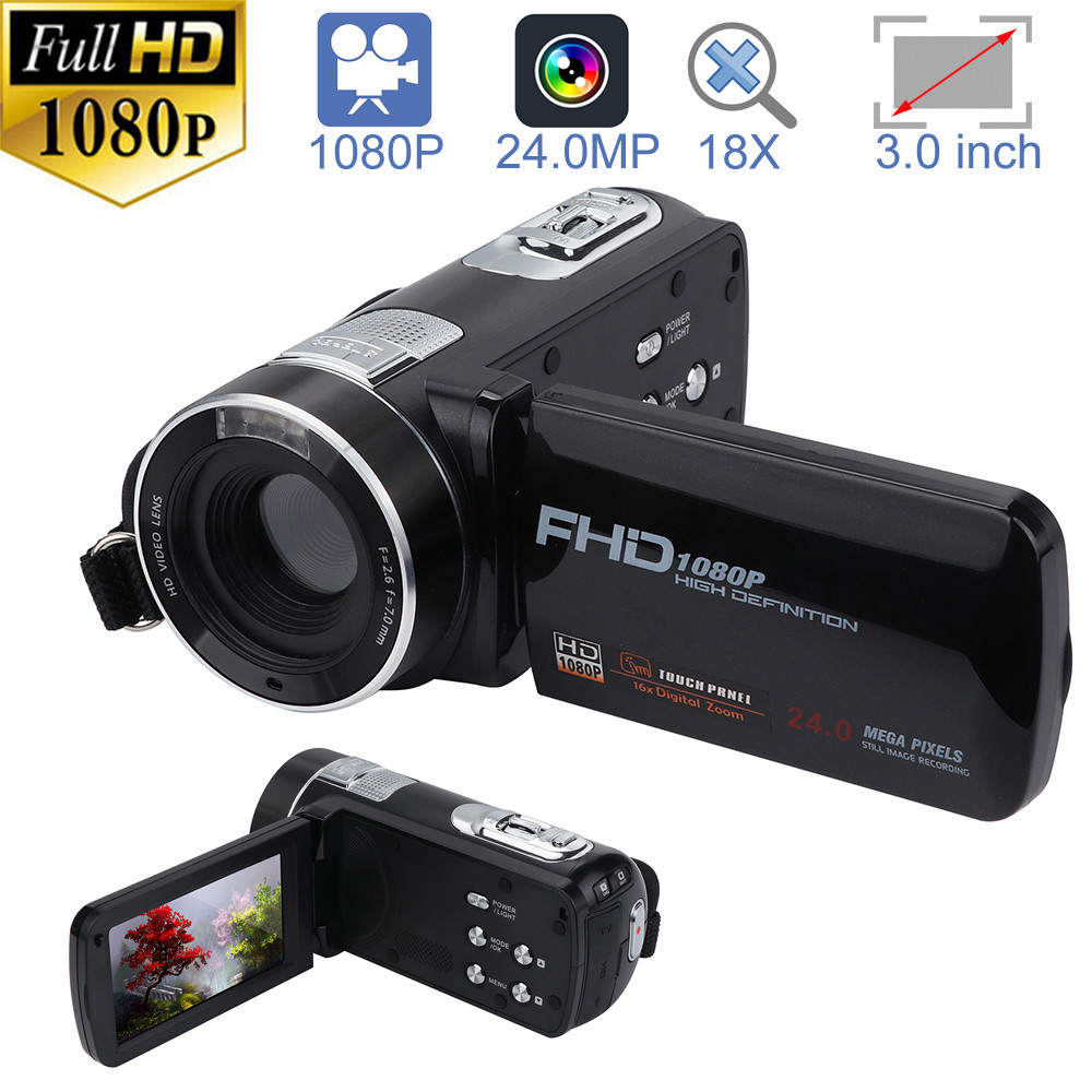 Câmera de vídeo Filmadora HD 1080 p 24.0MP 18X Zoom Digital Da Câmera de Visão Noturna 20A Transporte da gota