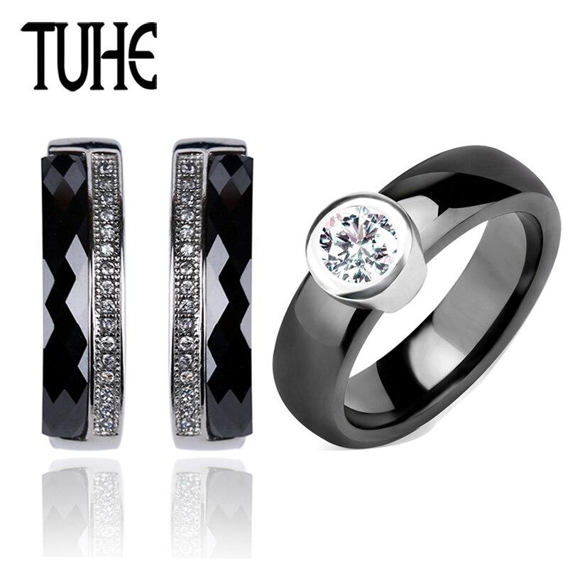 Classic Black White Ceramic Jewelry Set Round Shining Crystal Rings And U Shaped Rhinestone Earrings For Women Wedding Jewelry