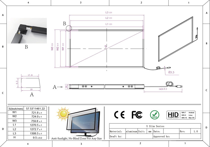 58 inch multi touch frame overlay