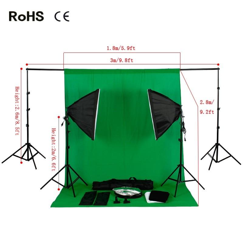 Photography Studio Set:soft box&135W 5500K Daylight Light Bulb&Cotton Backdrop(3 color)&Round Photography/Photo Reflector(5in1)