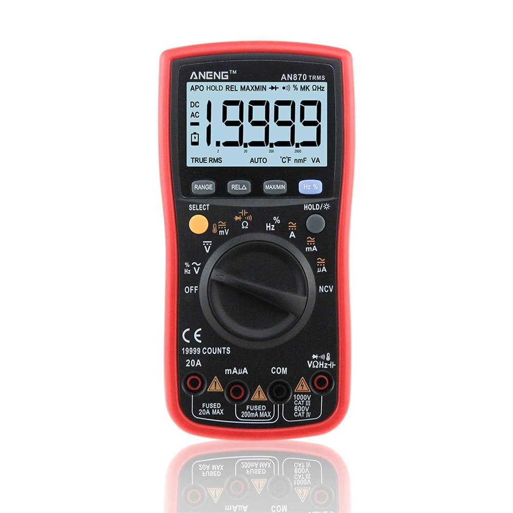 Auto Range Digital Precision Multimeter True-RMS 19999 COUNTS NCV Ohmmeter AC/DC Voltage Ammeter Transistor Tester Multi Meter digital multimeter auto rang true rms ncv ac dc voltage electronic meter