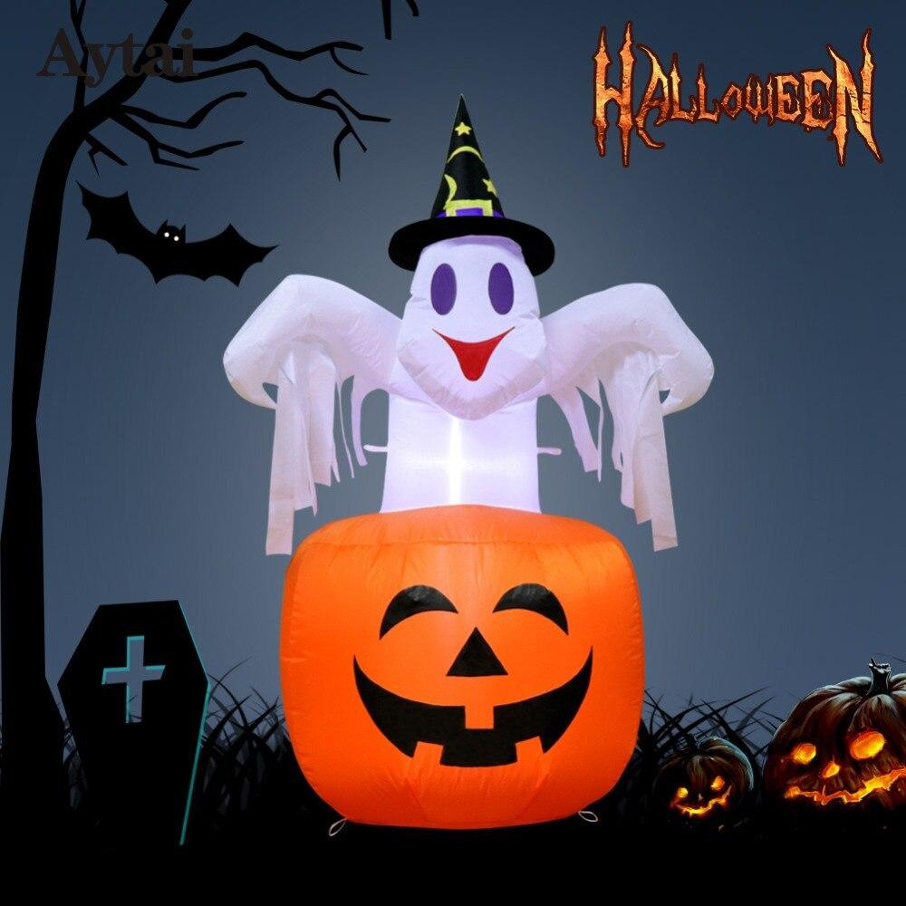 OurWarm Decoração Festa de Halloween Assustador Halloween Abóbora Inflável Ao Ar Livre Inflável Blow em Bruxa Abóbora Up Inflável