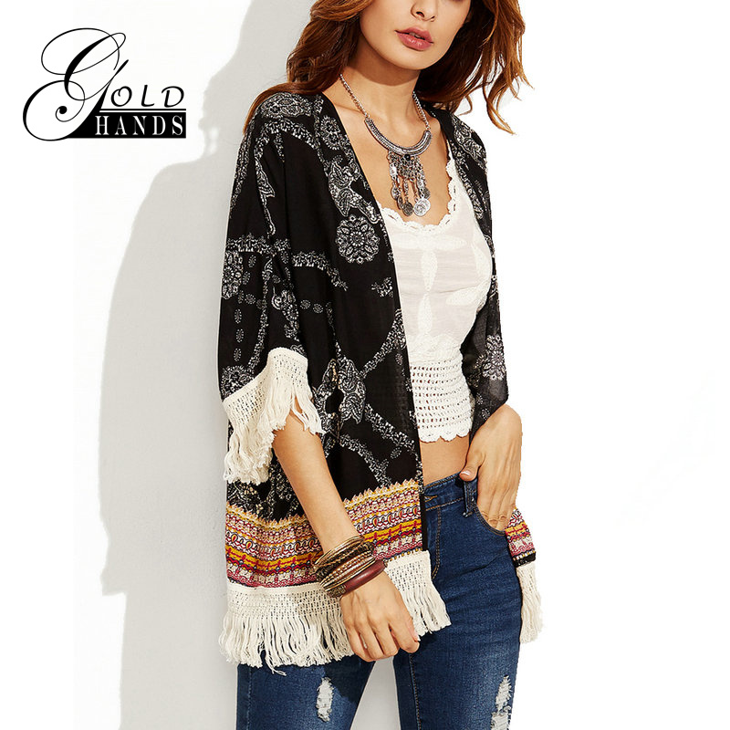 Gold Hands Fashion Ethnic Style Summer Women Chiffon Beach Cover Up Tops With Tassels Kimono Flower Printing Casual Cardigan
