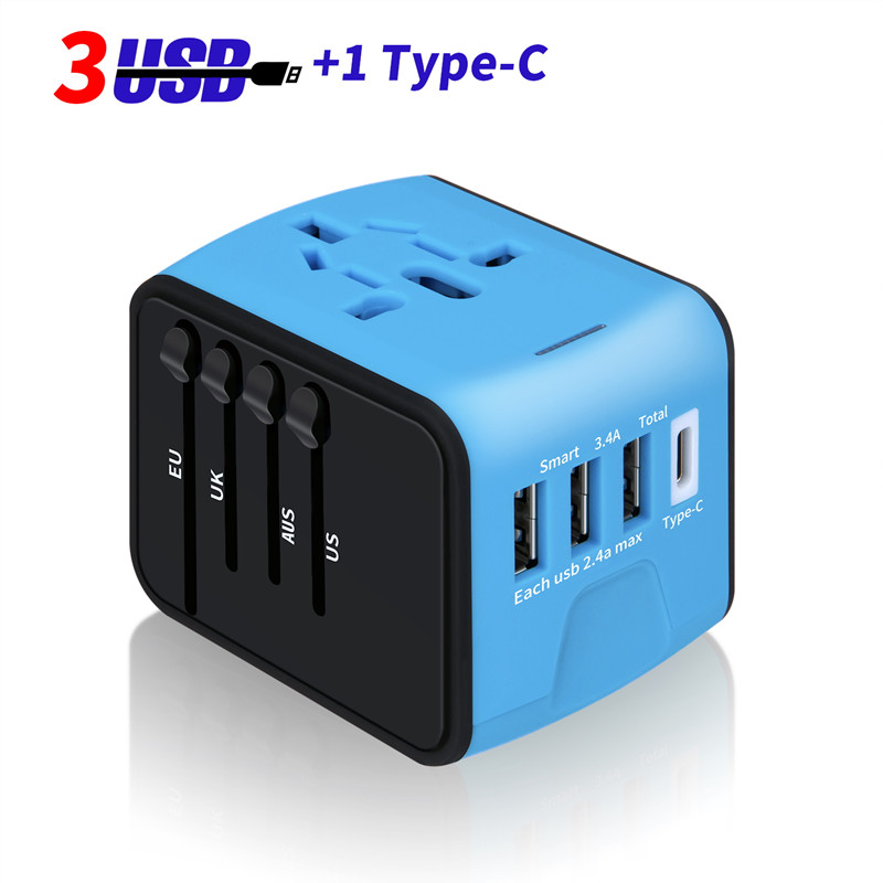 Feipuker New Travel Adapter Plug Electric Plugs US/AU/UK/EU Sockets Converter with 5V 2.4A 4 USB or 3USB 1 Type-C Charging