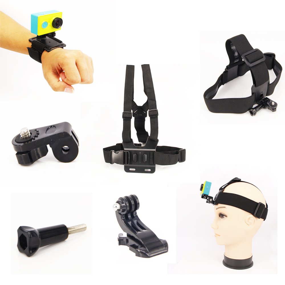 GoPro Accessories for Xiao yi accessories gopro set chest strap mount+Wrist strap belt+ Head strap For Gopro hero4/3/3+/2
