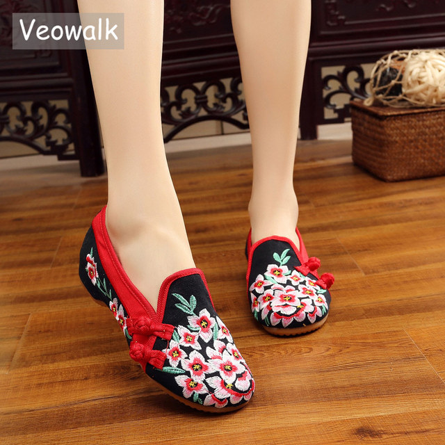 9607f3c862c6b Veowalk Peach Flowers Embroidered Women Handmade Canvas Loafers Slip on Ladies  Fabric Embroidery Comfort Driving Flat Shoes