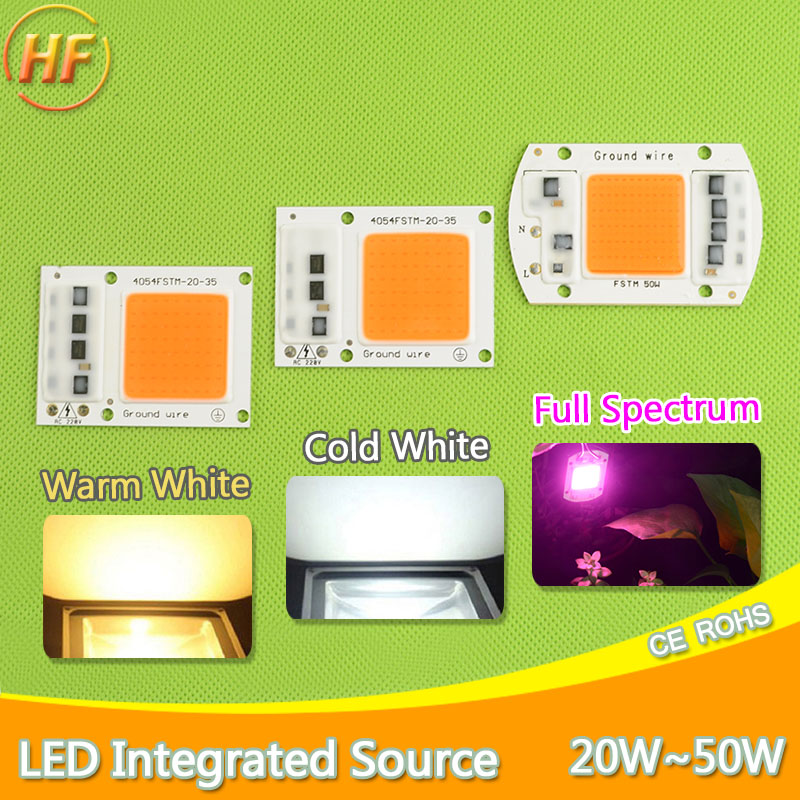 Smart IC Integrated LED Grow Light Lamp Chip COB /UV Full Spectrum/Warm/Cold White 220V 20W 30W 50W For Flower Plant Vegetable led cob bulb lamp 30w 50w led chip beads 220v input ip65 smart ic fit for diy led flood light cold white warm white