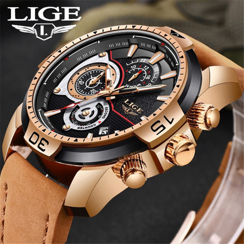 Relogio Masculino Mens Watches LIGE New Top Brand Luxury Automatic Date Quartz Watch Men Military Leather Waterproof Sport Watch new crrju mens watches top brand luxury quartz watch men waterproof sport military watches men leather relogio masculino 2017