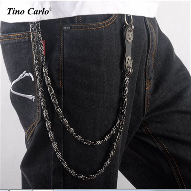"20"" Men Metal Key Long Wallet Dark Hook Leaf Leather Black Jean Chain Hip Hop Waist Pants Chain KB34-1"