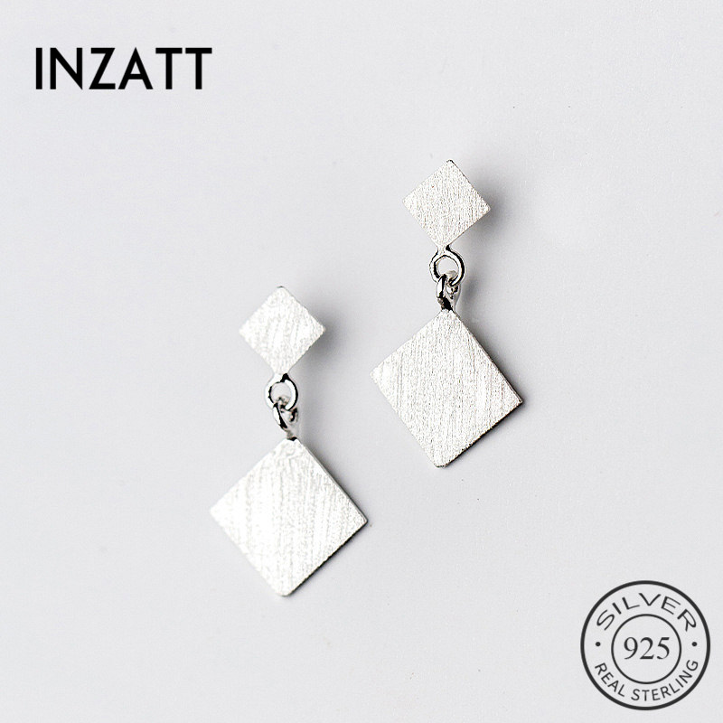INZATT Minimalist Trendy Geometric Scrub Square Dangle Drop Earrings 925 Sterling Silver Fashion Jewelry For Women Party Gifts