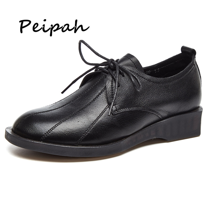 PEIPAH 2018 New Genunie Leather Oxfords Shoes For Woman White Black Lace Up