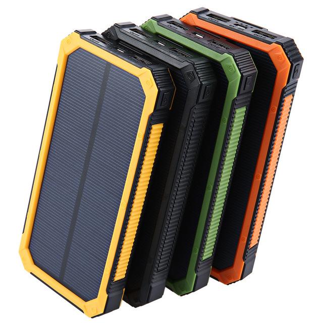 Banco de la Energía Dual USB Banco de la Energía Solar con luz LED 20000 mAh powerbank batería externa cargador Portátil para iphone7 impermeable