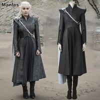 Daenerys Targaryen Costume Game Of Thrones Season 7 Cosplay Fancy Dress Black Outfit Boots Cloak