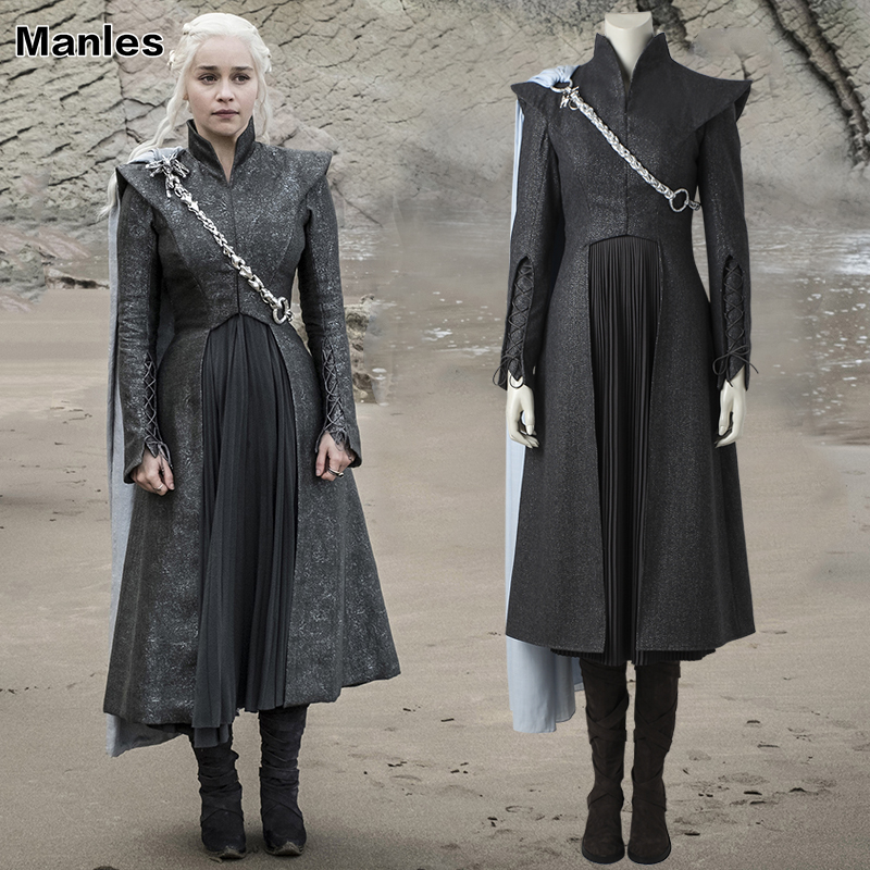 Daenerys Targaryen Costume Game of Thrones Saison 7 Cosplay Fantaisie Robe Noir Outfit Bottes Manteau Halloween Carnaval Custom Made