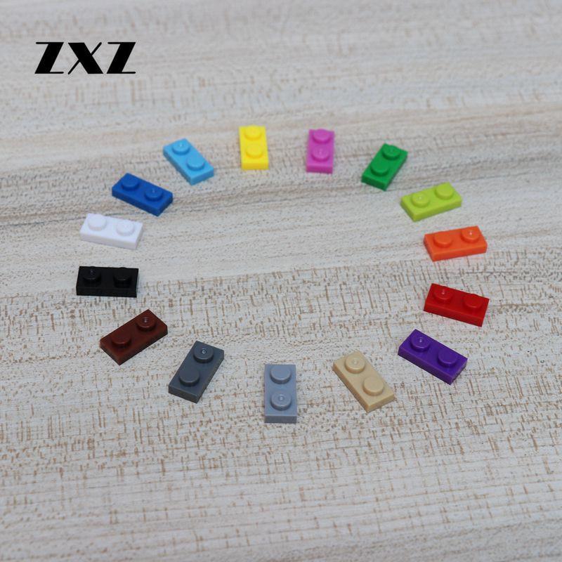 100 шт. короткая пластина 1x2 городские строительные блоки MOC замки аксессуары кирпичи техника блоки игрушки для детей Кирпичи 3023 пластины