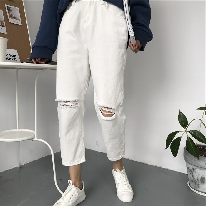 18 Summer Style Black White Hole Ripped Jeans Women Straight Denim High Waist Pants Capris Female Casual Loose Jeans 3