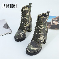 Jady Rose Camouflage Women Ankle Boots Lace Up Chunky High Heel Platform Botas Mujer Ladies Autumn Denim Boots Martin Boot