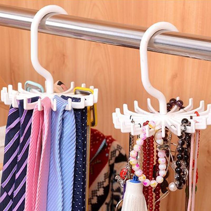 20 Hooks Plastic Rotating Tie Belt Rack Hanger Holder Space Saver Scarf Hanger Holder Hook Closet Organization