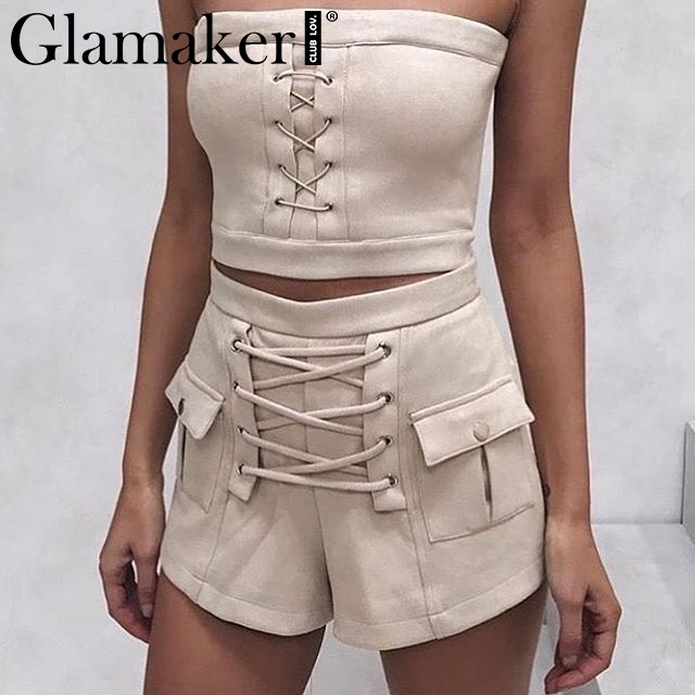 Glamaker Lace up suede   shorts   women Pockets autumn elegant high waist   shorts   Loose zipper sexy   shorts   2018