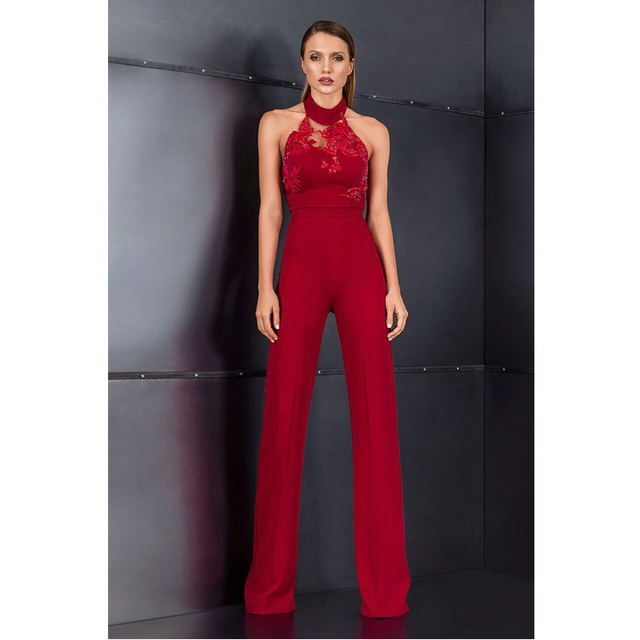 New Style Sleeveless Women Jumpsuit 2018 Celebrity Party Night Out 2 Piece  Set Red Perspective Crop 8bc8604b907a