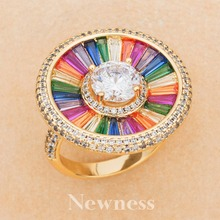Newness Luxury Cross Geometry Mix Colors Cubic Zirconia Engagement Dubai Rings Bridal Finger Ring Famous Brand Jewelry