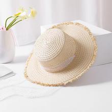 Seioum Verano Playa Mujeres Sombrero Arco Sombrero de Rafia Rafia Cinta  Blanca Negro Temperamento Plana Mar Playa Sombreros de P.. d5c244e8e7f