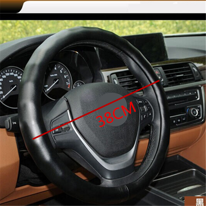 Free Shipping Hot 38CM Natural Odorless Lambskin Car Steering Wheel Cover Anti-Slip Automotive Accessories