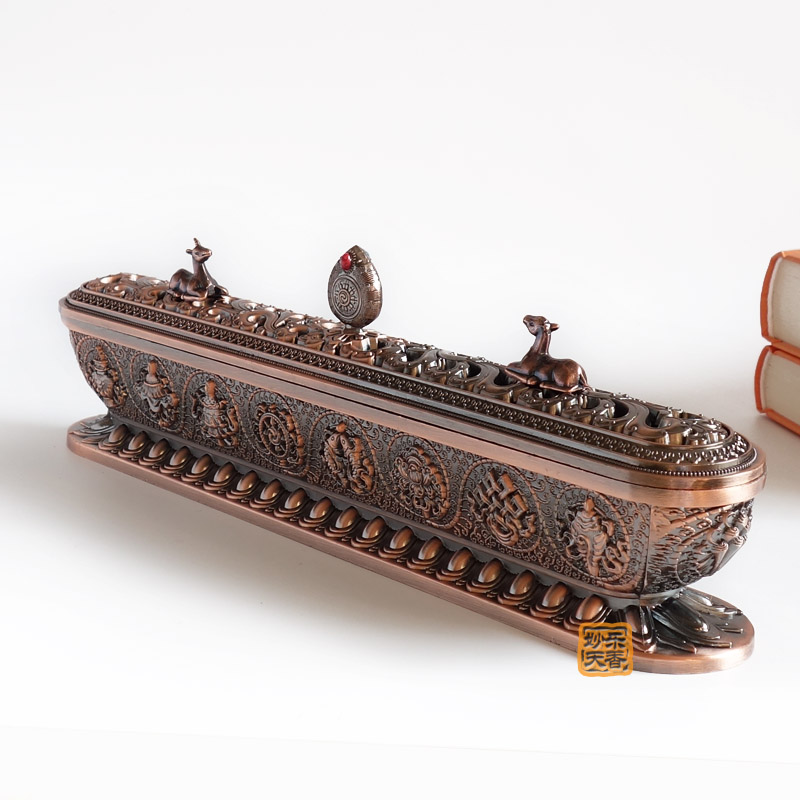 Tibetan incense burner, Length 32cm antique metal censer. Strong and durable,Imitation red copper incensory