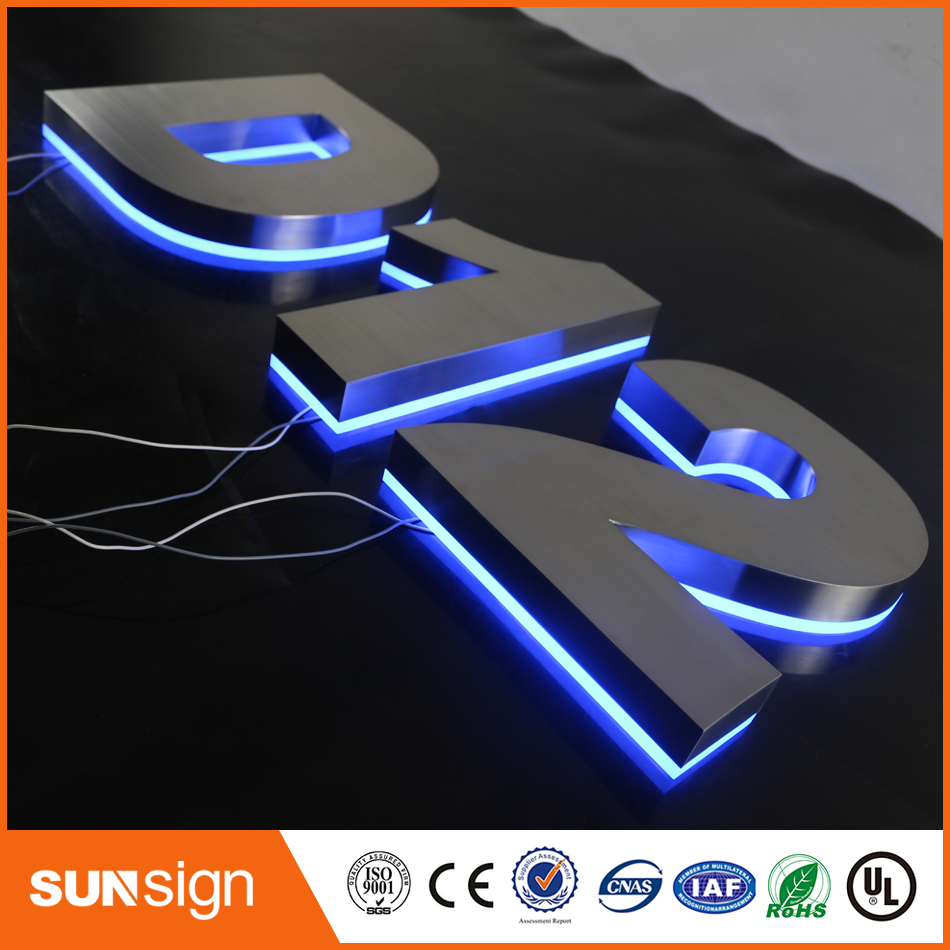 Custom Dimmable Stainless Steel LED Backlit Letters Signs