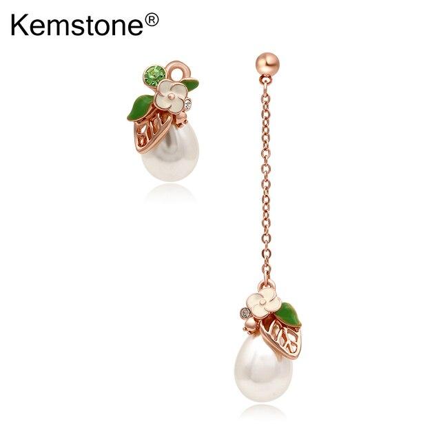 Kemstone Asymmetric Rose Gold Starfish Sea Horse Dangle Earrings Women Jewelry vroa5Xr