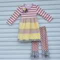 Boutique Mustard Pie Girls Fall Clothing Full Sleeve Flower Stripes Dress Top Polka Dot Ruffle Pants Kids Clothing Outfit F081