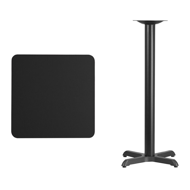 Flash Furniture 24'' Square Black Laminate Table Top with 22'' x 22'' Bar Height Table Base virginia cavaliers l211 42 tall logo pub table by holland bar stool company with black wrinkle base and 28 table top diameter