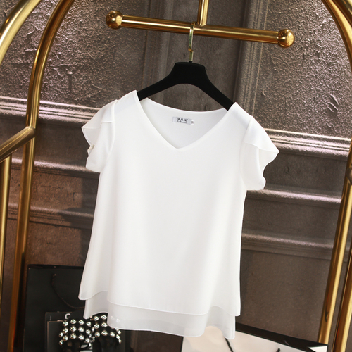 100% Original Women Chiffon Shirt 2019 Summer Short sleeve V-neck Blouse Casual 9 Solid color Loose Oversized Lady Tops 7