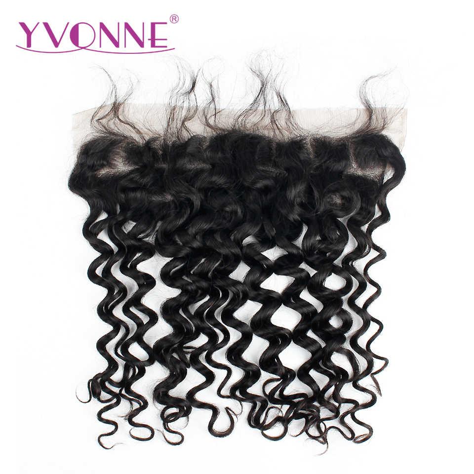 Yvonne İtalyan kıvırcık brezilyalı insan saç demetleri ile Frontal doğal renk 3 demetleri saç örgü ile 13*4 dantel frontal