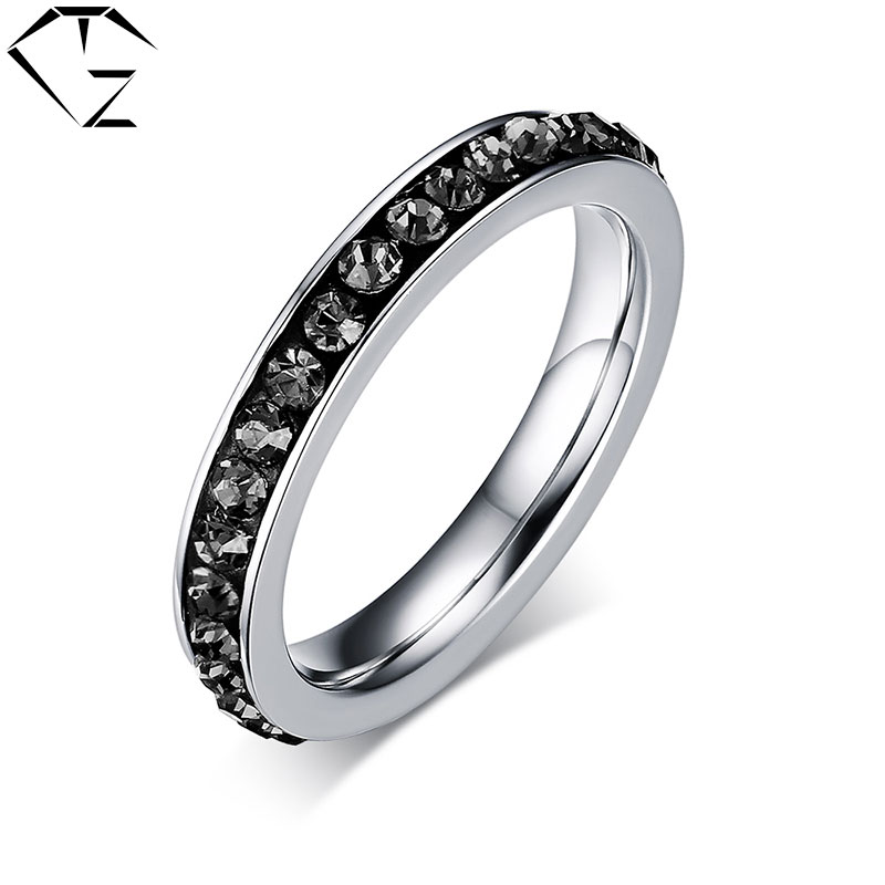Gz Colorful Cz Crystal Ring Cubic Zircon Stainless Steel Punk Wedding Rings For Women Men Jewelry Usa Size 5 To 14 In From Accessories On