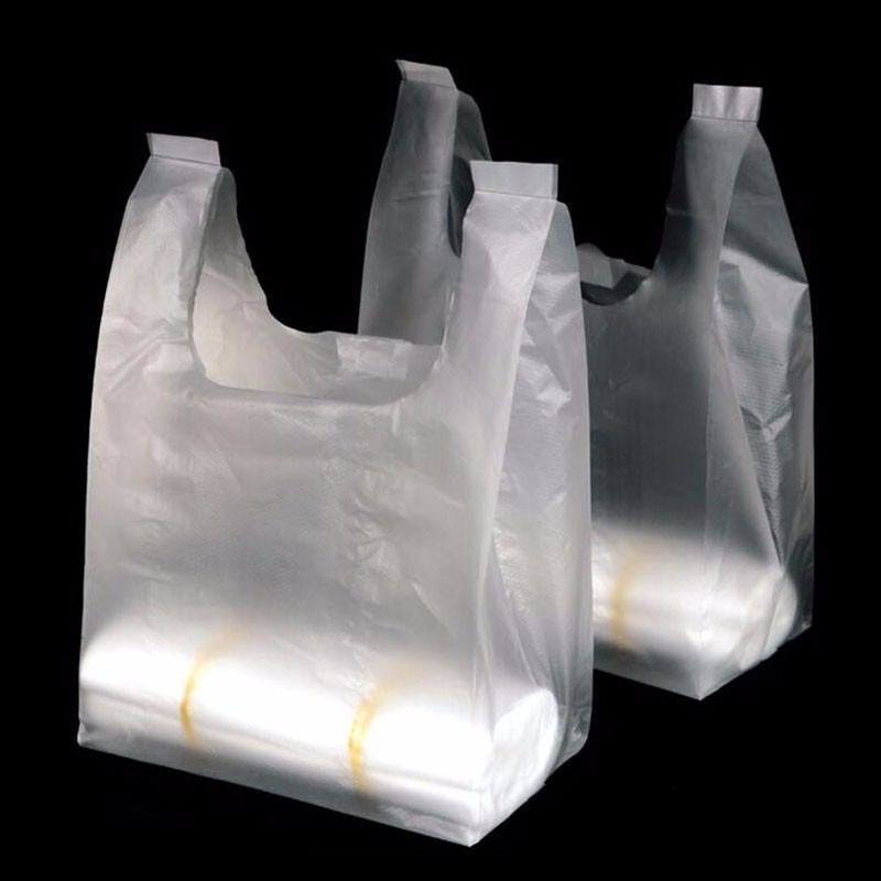 100pcs Recyclable White Plastic Carry Out Shopping Bags ...