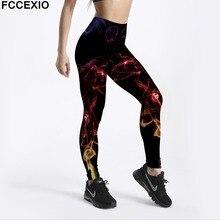 FCCEXIO Women Workout Leggings High Waist Fitness Legging Colored Smoke Dream Print Leggins Female Leg Pants Large Size Leggings