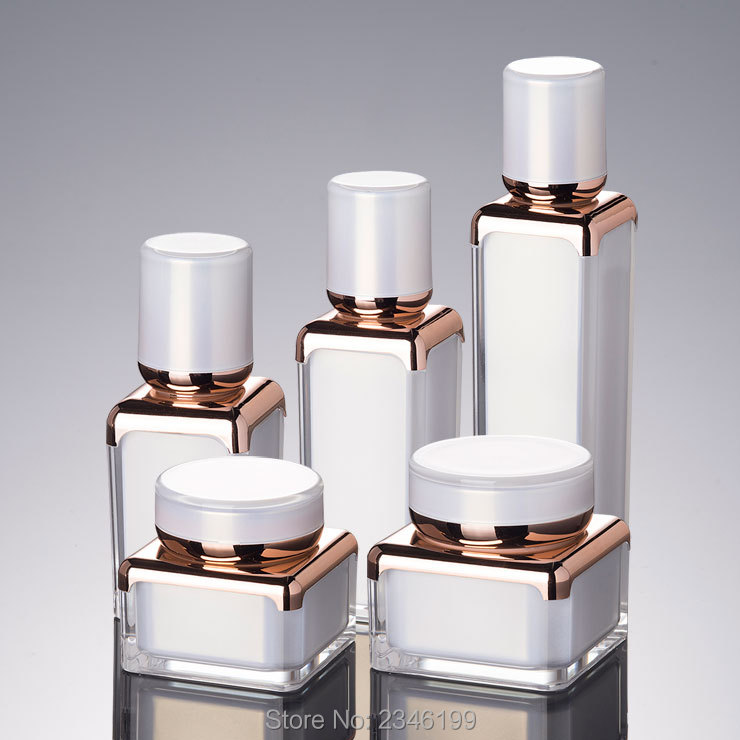 10Pcs/Lot 15ML 30ML 50ML Cosmetic Lotion Pump Bottle, DIY White Elegant Emulsion Container, Square Arcylic High Grade Cream Jar 500g cosmetic grade 99