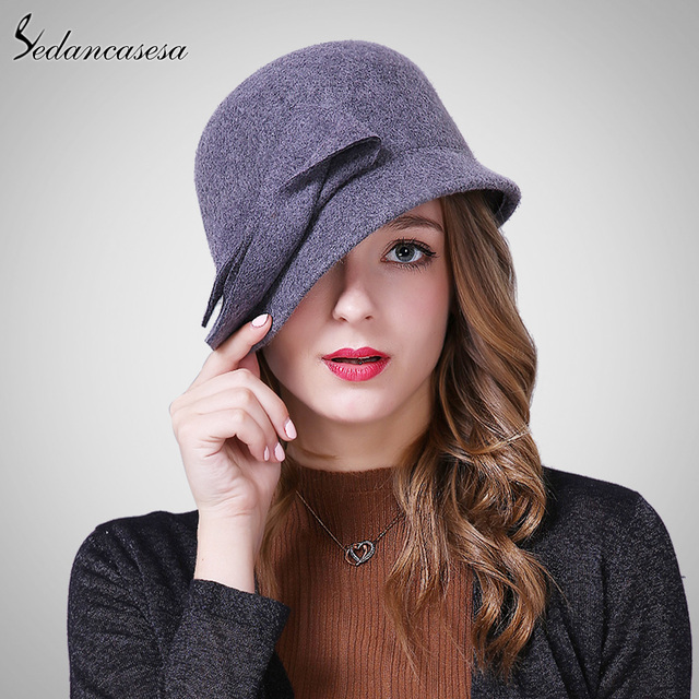Sedancasesa New Autumn Winter Hat Female England Wool Felt Hat Retro Cloche  Hats Hot selling Warm Bucket Hats for women FW209001 2234606bade6
