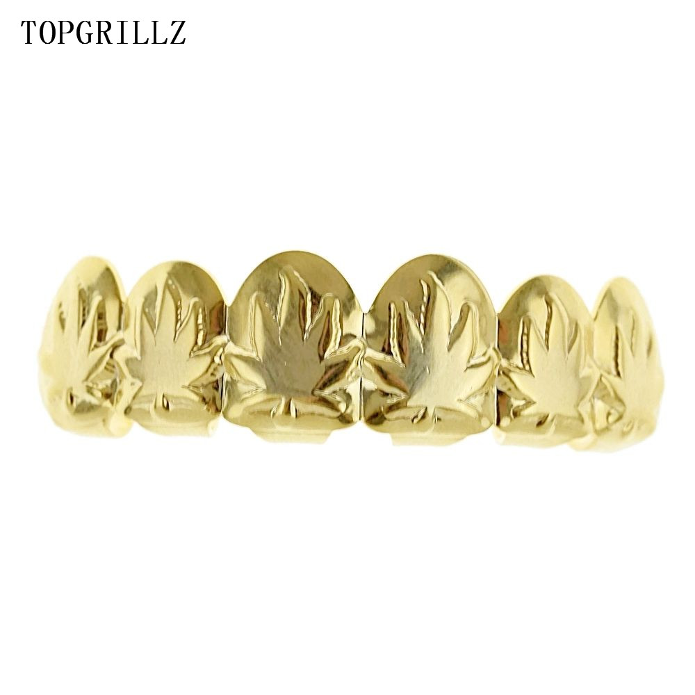 TOPGRILLZ Maple Leaf Grillz Pot Weed Leaves Rose Gold Color Plated Top & Bottom Teeth Grills Golden Grillz Sets Teeth Caps