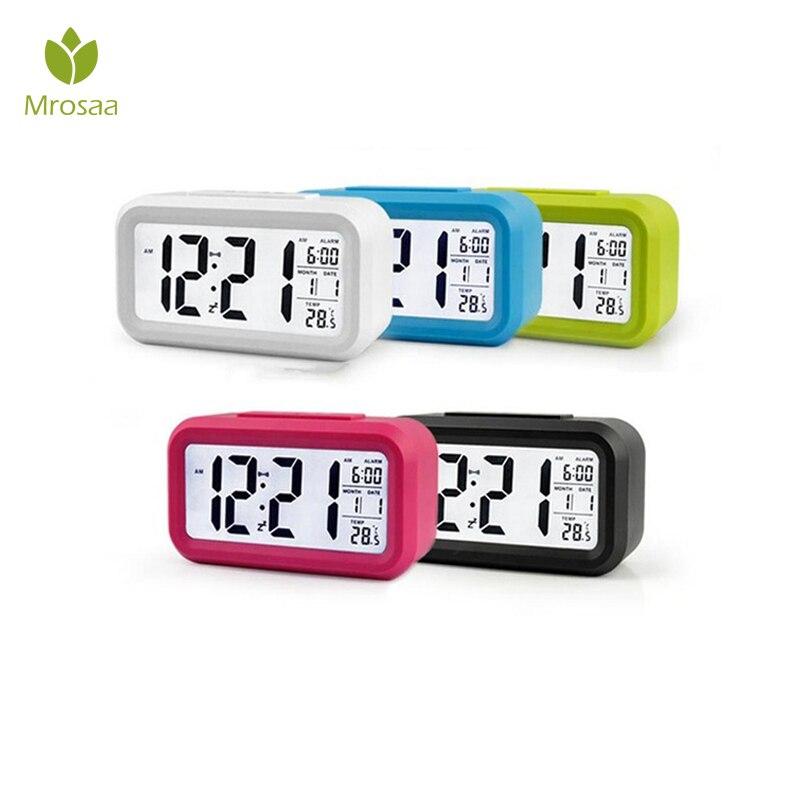 Mrosaa Large LED Digital Alarm Clock Nightlight Sensor Snooze Mute Calendar Desktop Electronic Bcaklight Table clocks