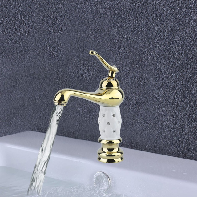 Torneira Luxury Bathroom Faucet Basin Sink Gold Brass With Diamond Crystal Body Tap Single Handle Hot Cold Mixer Water Tap