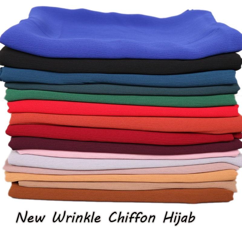 High Quality New Wrinkle Chiffon Hijab Muslim Hijab Scarf Plain Shawl Women's Autumn Head Scarves Headband Crinkle Hijab 20pcs