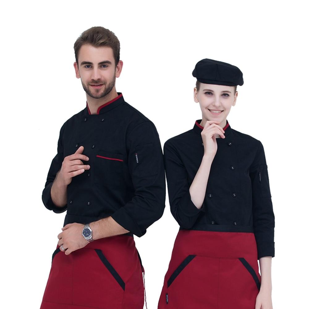 New High Quality Autumn&Winter Restaurant Hotel Chef Jacket Long-sleeve Cook Suit Man Woman Work Wear Uniform 3-colors Optional