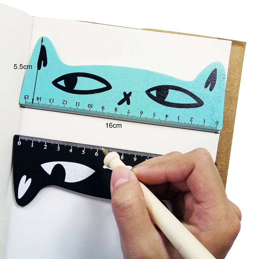 30 Pcs/lot Kawaii Cat Head Design Wooden Ruler Students' Study Ruler Bookmark Measuring Tool Patchwork Drawing Ruler