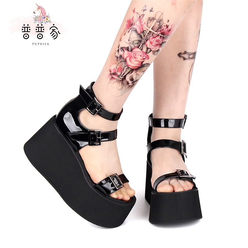 Princess sweet lolita shoes Summer Gothic customized Sandals Super High-heeled Muffin Thick-soled Punk Sandals women pu968