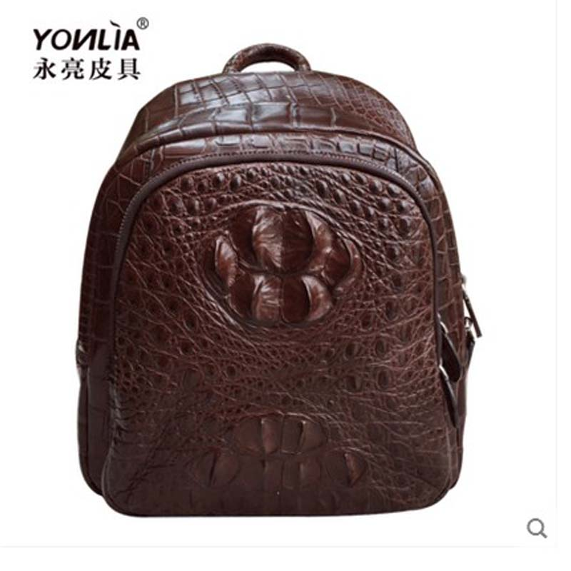 yongliang new natural crocodile leather double shoulder men backpack European and American fashion crocodile small men backpack yongliang 2017 new crocodile leather belly single shoulder men handbag crocodile leather crossbody fashion all match men bag