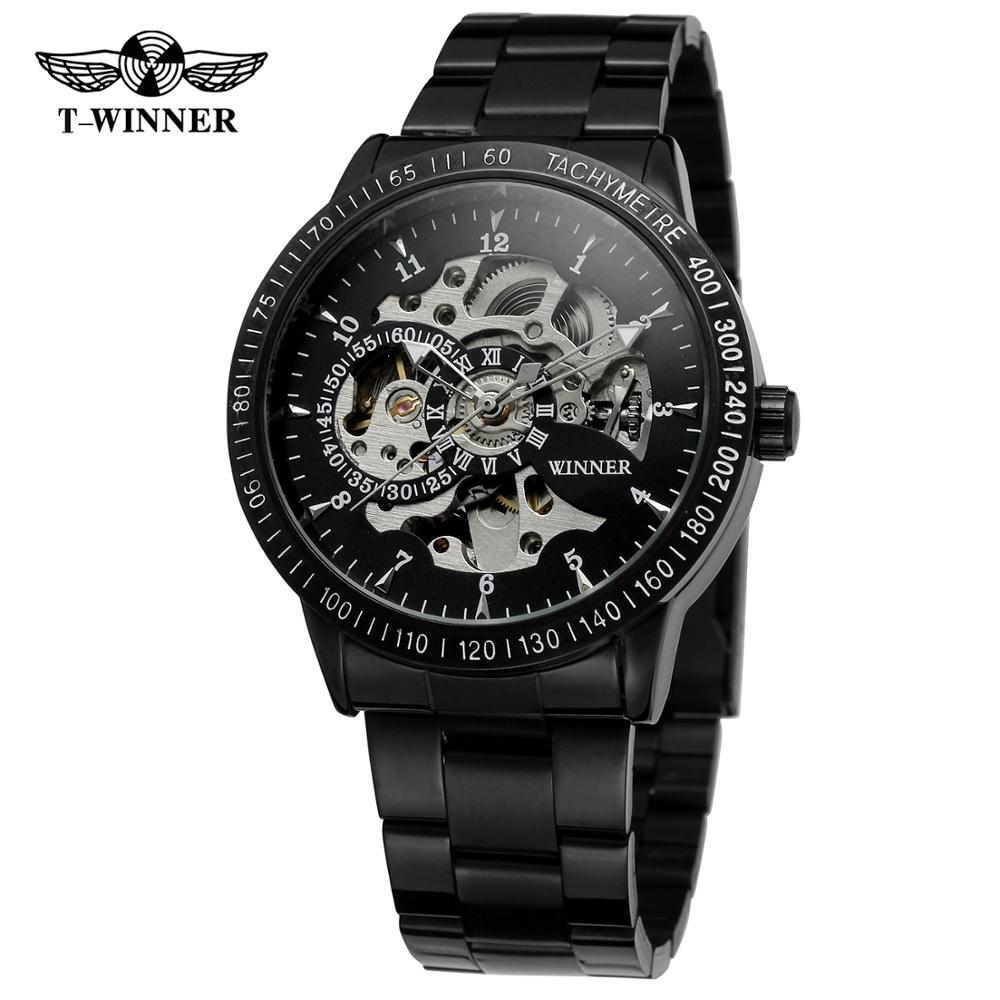WINNER WATCH Automanticl-Watch Steel-Band With Black Unique Pointer Full-Black-Surface