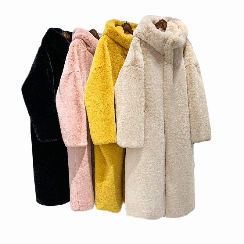Novo Outono Inverno Casaco De Pele Das Mulheres Roupas de Alta Qualidade Imitação de Pele de Vison Com Capuz Plus Size Engrossar Casacos Quentes Longos Feminino