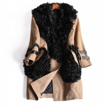 Europe and America Women s clothes 2016 Autumn New Three Quarter wool collar Trench coat